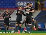 Manchester City's Riyad Mahrez celebrates scoring against Everton in the Premier League on February 17, 2021