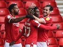 Nottingham Forest's Alex Mighten celebrates after scoring their first goal on February 20, 2021