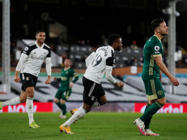 Ademola Lookman celebrates scoring for Fulham against Sheffield United in the Premier League on February 20, 2021