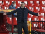 Napoli coach Gennaro Gattuso reacts in the Europa League on February 18, 2021
