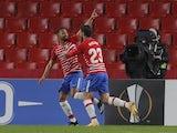 Granada's Kenedy celebrates scoring their second goal with Jorge Molina on February 18, 2021