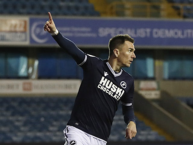 Millwall's Jed Wallace celebrates scoring against Birmingham City in the Championship on February 17, 2021