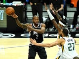 Los Angeles Clippers forward Kawhi Leonard looks to make a pass against the Utah Jazz on February 20, 2021