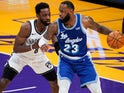 Los Angeles Lakers forward LeBron James defended by Brooklyn Nets forward Jeff Green on February 19, 2021