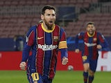 Barcelona's Lionel Messi celebrates scoring their first goal on February 16, 2021