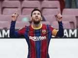 Barcelona's Lionel Messi celebrates scoring against Cadiz in La Liga on February 21, 2020