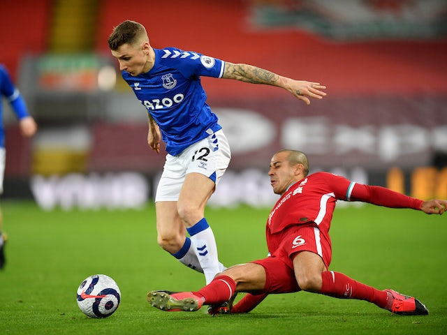 Everton's Lucas Digne in action with Liverpool's Thiago Alcantara in the Premier League on February 20, 2021