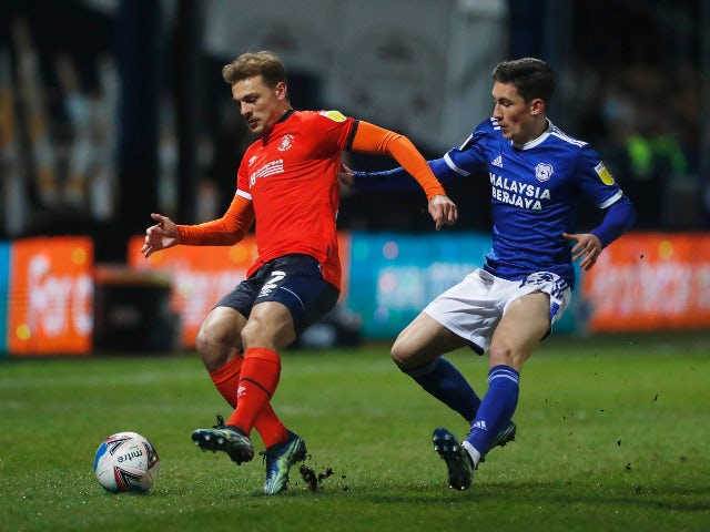 Luton Town's Kiernan Dewbury Hall in action with Cardiff City's Harry Wilson in the Championship on February 16, 2021