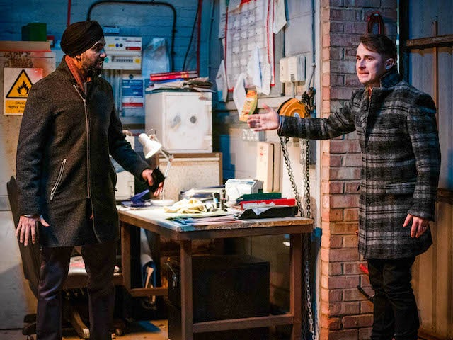 Kheerat and Ben on EastEnders on March 2, 2021