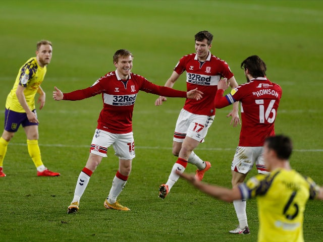 Duncan Watmore celebrates scoring for Middlesbrough against Huddersfield Town in the Championship on February 16, 2021