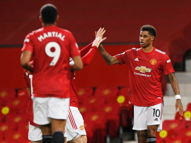 Marcus Rashford celebrates scoring for Manchester United against Newcastle United in the Premier League on February 21, 2021