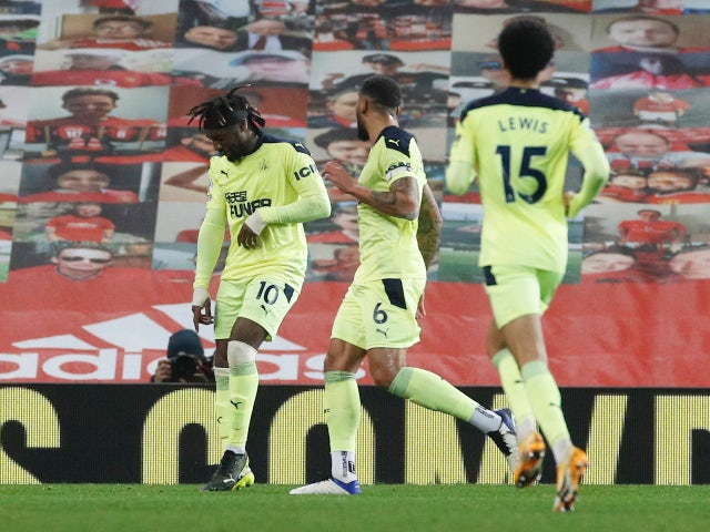 Newcastle United's Allan Saint-Maximin celebrates scoring their first goal against Manchester United on February 21, 2021