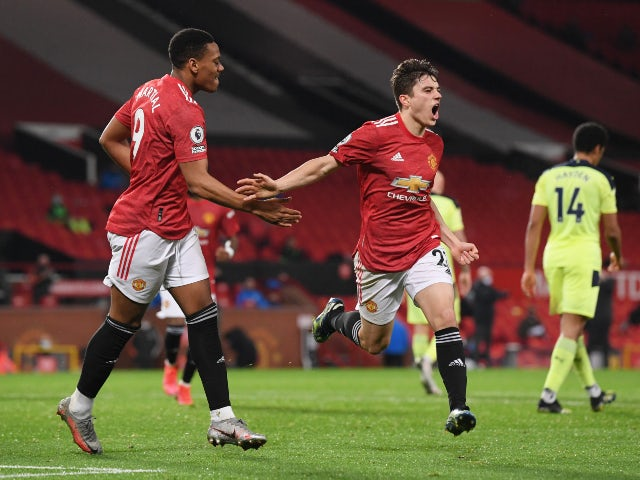 Daniel James celebrates scoring for Manchester United against Newcastle United in the Premier League on February 21, 2021