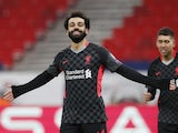 Liverpool's Mohamed Salah celebrates scoring their first goal on February 16, 2021