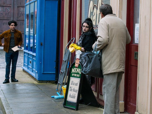 Aadi, Nina and Roy on the first episode of Coronation Street on March 3, 2021