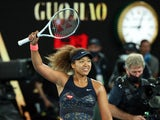Naomi Osaka celebrates after beating Jennifer Brady in the Australian Open final on February 20, 2021