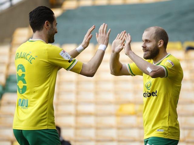 Norwich City's Teemu Pukki celebrates scoring their first goal on February 20, 2021