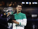 Novak Djokovic celebrates winning the Australian Open on February 21, 2021