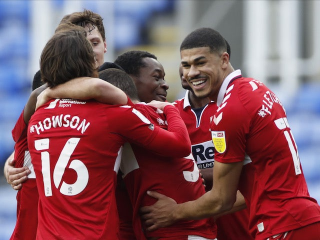 Middlesbrough's Marc Bola celebrates scoring their second goal against Reading on February 20, 2021