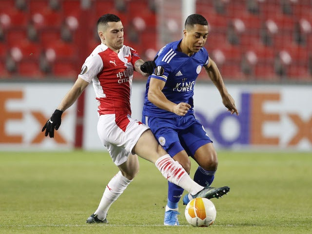 Leicester City's Youri Tielemans in action with Slavia Prague's Nicolae Stanciu in the Europa League on February 18, 2021