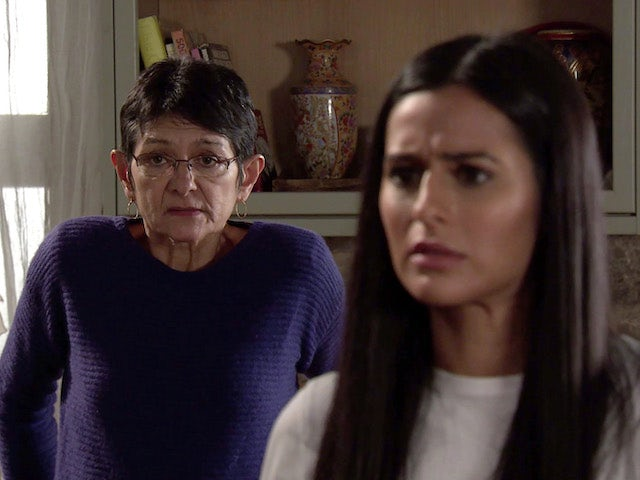 Alya and Yasmeen on the first episode of Coronation Street on February 24, 2021