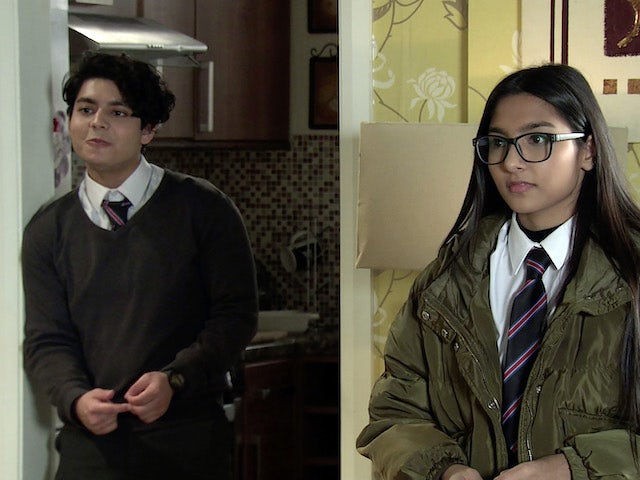 Aadi and Asha on the first episode of Coronation Street on February 24, 2021