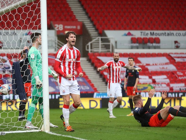Stoke City's Nick Powell celebrates scoring their second goal on February 20, 2021