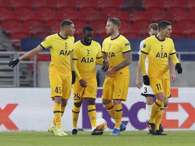Tottenham Hotspur's Carlos Vinicius celebrates scoring their fourth goal with teammates in the Europa League on February 18, 2021