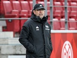 Union Berlin coach Urs Fischer reacts in February 2021