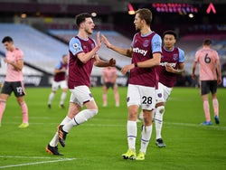 Declan Rice celebrates scoring for West Ham United against Sheffield United in the Premier League on February 15, 2021