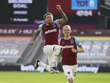 West Ham United's Jesse Lingard celebrates scoring against Tottenham Hotspur in the Premier League on February 21, 2021