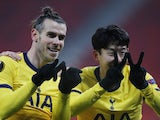 Tottenham Hotspur's Son Heung-min celebrates scoring against Wolfsberger in the Europa League on February 18, 2021