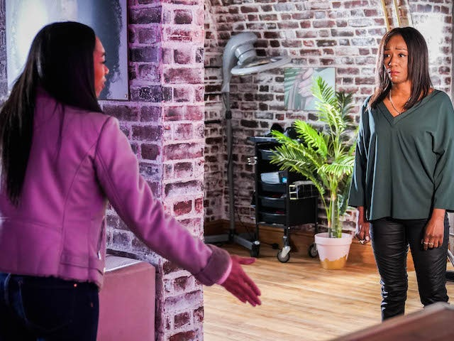 Denise and Chelsea on EastEnders on March 8, 2021