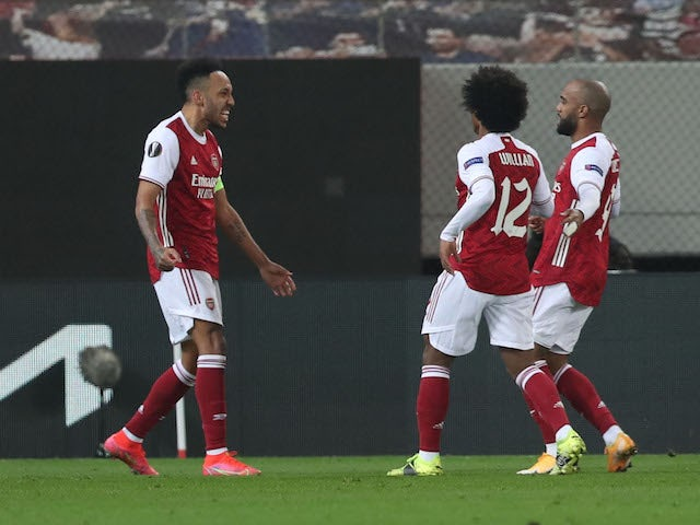 Arsenal's Pierre-Emerick Aubameyang celebrates scoring against Benfica in the Europa League on February 25, 2021