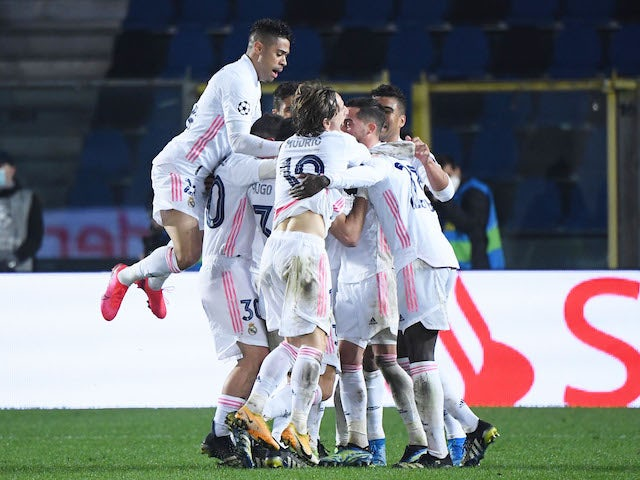 Real Madrid's Ferland Mendy celebrates scoring against Atalanta BC in the Champions League on February 24, 2021