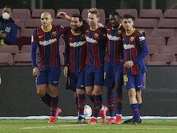 Barcelona's Lionel Messi celebrates scoring against Elche in La Liga on February 24, 2021