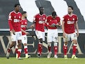 Bristol City's Kasey Palmer celebrates with team mates after scoring their second goal on February 27, 2021