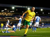 Norwich City's Teemu Pukki celebrates scoring their first goal against Birmingham City in the Championship on February 23, 2021