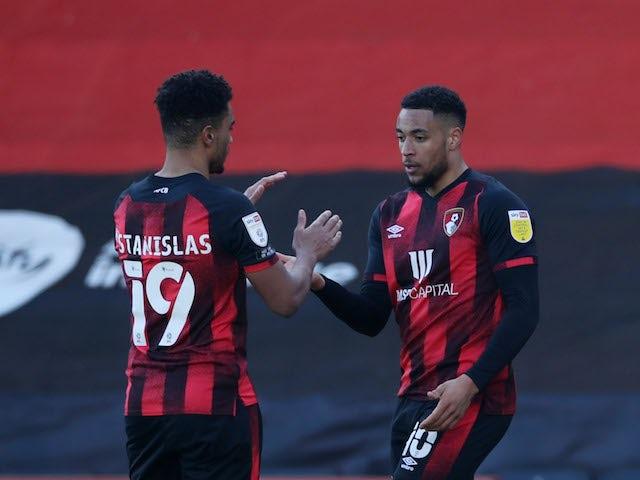 Bournemouth's Arnaut Danjuma celebrates scoring their first goal on February 27, 2021