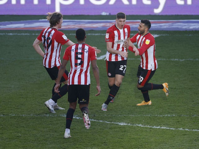 Brentford's Vitaly Janelt celebrates after scoring their first goal on February 27, 2021