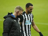 Newcastle United's Callum Wilson after being substituted due to injury in February 2021