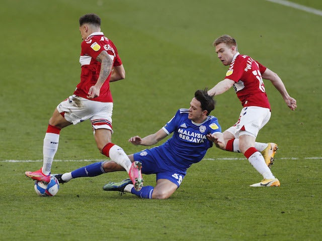 Cardiff City's Perry Ng in action with Middlesbrough's Marcus Tavernier on February 27, 2021