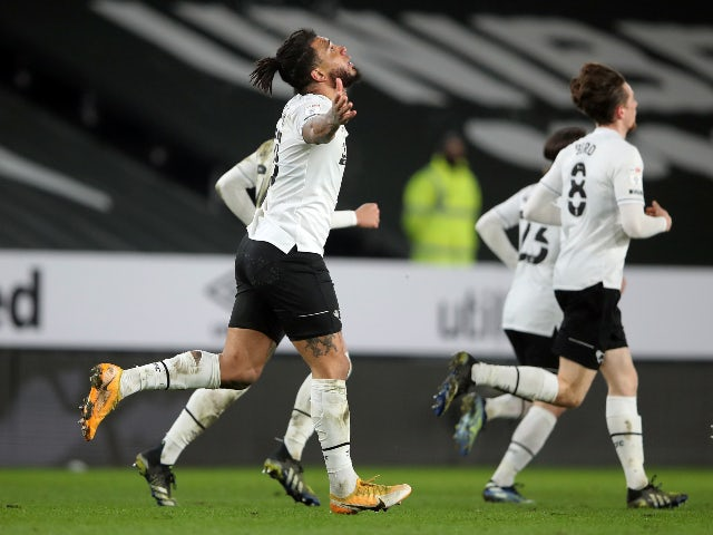 Derby County's Colin Kazim-Richards celebrates scoring their first goal against Nottingham Forest in the Championship on February 26, 2021