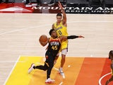 Utah Jazz guard Donovan Mitchell in action with Los Angeles Lakers forward Kyle Kuzma on February 24, 2021