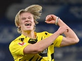 Erling Braut Haaland celebrates scoring for Borussia Dortmund on February 20, 2021