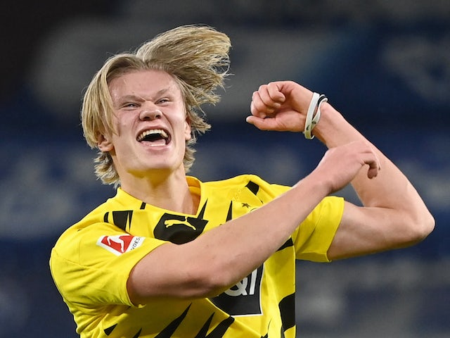 Erling Braut Haaland celebrates scoring for Borussia Dortmund on February 20, 2021