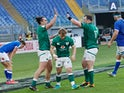 Ireland's James Lowe celebrates with teammates after scoring a try against Italy in the Six Nations on February 27, 2021