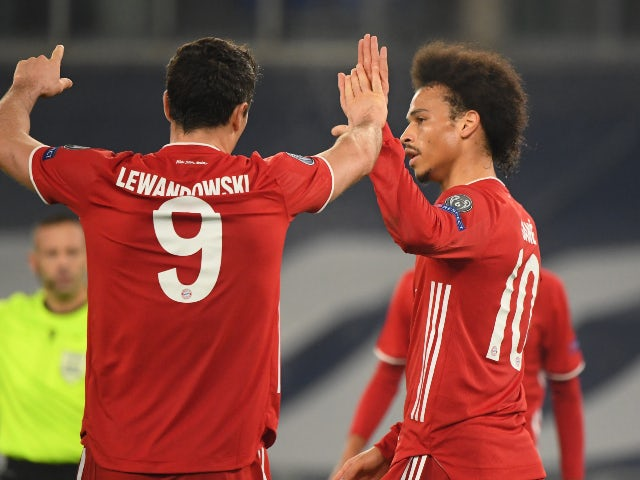 Leroy Sane celebrates scoring for Bayern Munich against Lazio in the Champions League on February 23, 2021