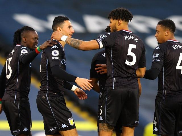 Aston Villa's Anwar El Ghazi celebrates scoring their first goal against Leeds United in the Premier League on February 27, 2021