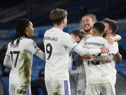 Leeds United's Stuart Dallas celebrates scoring their second goal with Luke Ayling and teammates on February 23, 2021